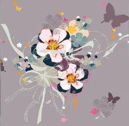 Clear Creation Karnet Swarovski kwadrat CL2909_BL Kwiaty beżowy