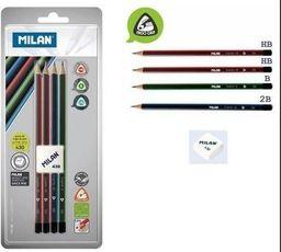 Milan Ołówki trójkątne 4szt+gumka 430 blister MILAN