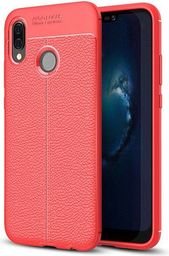 Hurtel Litchi Pattern elastyczne etui pokrowiec Huawei P20 Lite czerwony