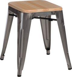 D2 Design Stołek Paris Wood szary sosna naturalna