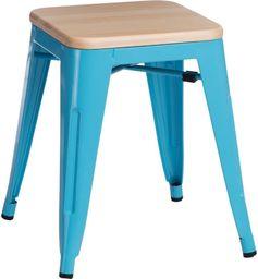 D2 Design Stołek Paris Wood niebieski sosna naturalna