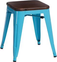 D2 Design Stołek Paris Wood niebieski sosna orzech