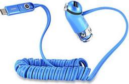 Ładowarka REMAX samochodowa CUTIE RCC211 2.4A niebieska TYP C + IPHONE 5/6