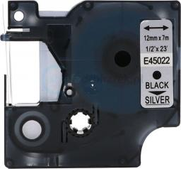 Strefa Drukarek Taśma dymo d1 zamiennik 45022 12mm x 7m srebrne tło/czarny nadruk