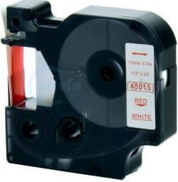 Strefa Drukarek Taśma dymo d1 zamiennik 45015 12mm x 7m białe tło/czerwony nadruk