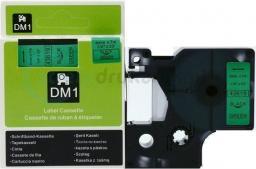 Strefa Drukarek Taśma dymo d1 zamiennik 43619 6mm x 7m zielone tło/czarny nadruk