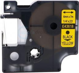 Strefa Drukarek Taśma dymo d1 zamiennik 43618 6mm x 7m żółte tło/czarny nadruk