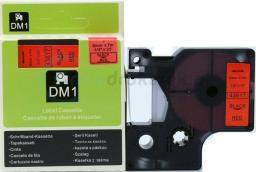 Strefa Drukarek Taśma dymo d1 zamiennik 43617 6mm x 7m czerwone tło/czarny nadruk