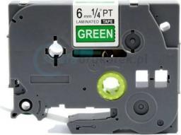 Strefa Drukarek Brother tze-715 zielone/biały nadruk 6mm x 8m zamiennik