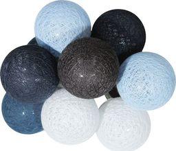 Lampa stołowa Eko-Light Lampki dekoracyjne Milagro Cotton Balls 10 kul 10x0,03W LED 6cm biały/róż/szary/niebieski na baterie EK1511