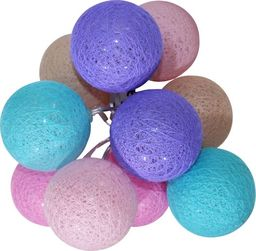 Lampa stołowa Eko-Light Lampki dekoracyjne Milagro Cotton Balls 10 kul 10x0,03W LED 6cm biały/zielony/niebieski na baterie EK1528