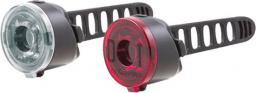 SPANNINGA Zestaw lampki Dot10 lumenów baterie przód czarna, DOT 10 lumenów baterie tył czarna (NEW)