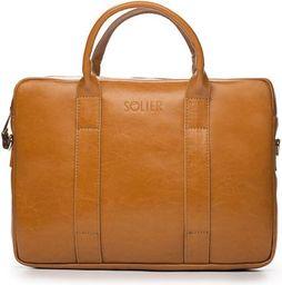 Torba Solier Skórzana męska torba na laptopa Camel  Solier William