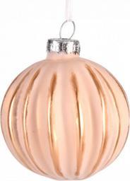 Miloo Home Bombka tłoczona linie różowa 6 cm