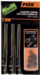 FOX Edges Dark Camo Leadcore Leader Kits x 3 Kit inc Kwik Change Kit (CAC578)