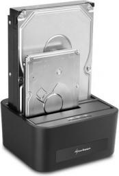 Stacja dokująca dla dysku twardego Sharkoon SATA QuickPort Duo USB3.0, z zasilaczem, czarna (4044951010066)