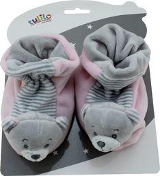 Tulilo New Baby Buciki z grzechotką - Miś różowy