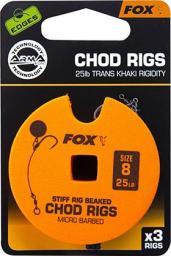 FOX Edge Armapoint stiff Rig beaked Chod Rigs x 3 25lb sz8 STD (CCR159)