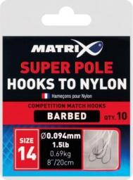Fox Matrix Hooks To Nylon Super Pole 20cm roz.18 0.09mm (GHK060)