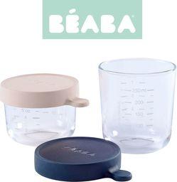 Beaba Beaba Zestaw pojemników słoiczków szklanych z hermetycznym zamknięciem 150 + 250 ml pink i dark blue (3384349126544)