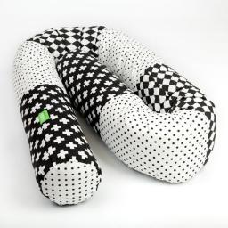 Lulando Wałek do łóżeczka, kropki czarne/romby czarno-białe/ plusy czarno-białe, 190 cm