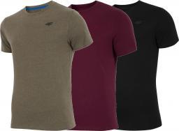 4f Koszulki męskie zestaw 3 szt. H4Z18-TSM001 khaki/burgundowa/czarna r. XL