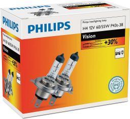 Philips ŻARÓWKA H4 12V/60/55W P43T-38 +30% PHILIPS VISION KPL 2 SZT.