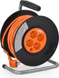 Hecht przedłużacz kabel sieciowy na bębnie nawijany 3x1.5mm2 230V 20 metrów 4 wtyczki (420153)