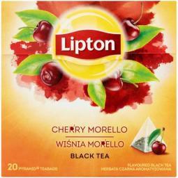 Lipton herbata czarna aromatyzowana Wiśnia Morello 20 piramidek