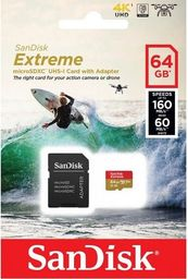 Karta MicroSD SanDisk Extreme microSDXC 64GB 100MB/s R/60MB/s W, C10 U3 V30 UHS-I,