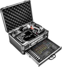 GRAPHITE Zestaw Energy+ w walizce aluminiowej: wiertarko wkrętarka 2x18V/2.0Ah, 10 mm + 109 akcesoriów (58G000-PS14)