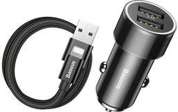 Ładowarka Baseus Baseus Small Screw 3.4A inteligentna ładowarka samochodowa 2x USB + kabel Lightning 1m 2A czarny (TZXLD-A01)