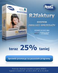 Program Reset2 R2 Faktury Standard (1 firma. 1 stanowisko) TCAA00