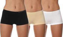 Brubeck Bokserki damskie Comfort Cotton zestaw 3szt. beżowy/biały/czarny r. XL (BX10470A)
