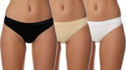 Brubeck Stringi damskie Comfort Cotton beżowy/biały/czarny r. XL (TH00182A)