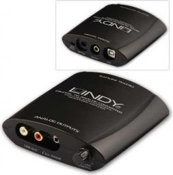 Adapter AV Lindy  Przetwornik cyfrowo-analogowy   Toslink-Coaxial-USB-> 2xRCA + jack 3,5mm (20376)