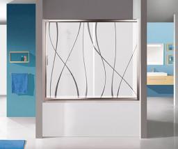 Parawan nawannowy Sanplast TX 2-częściowy szkło Aqua wzór, profil srebrny (600-271-1520-38-401)