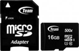 Karta Team Group 500x MicroSDHC 16 GB Class 10 UHS-I  (TUSDH16GCL10U03)