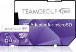Karta MicroSD Team Group microSDXC 64GB UHS1 + adapter (TCUSDX64GUHS41)