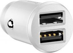 Ładowarka Baseus samochodowa Grain 2x USB 5V 3.1A, biała