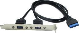Unitek Śledź 2x USB3.0, Wyprowadzenie z Płyty Głównej (B2-USB3.0AF-20PF-0.6)
