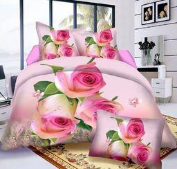 Pościel 140x200 cm + poduszka 70x80 cm oliwkowo-różowa