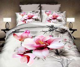 Pościel 160x200 cm + 2 poduszki 70x80 cm kremowo-różowa