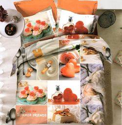 Pościel 160x200 cm + 2 poduszki 70x80 cm biało-pomarańczowa