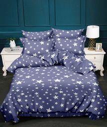 Pościel 160x200 cm + 2 poduszki 70x80 cm + narzuta 180x225 cm niebiesko-biała