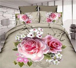 Pościel 160x200 cm + 2 poduszki 70x80 cm oliwkowo-różowa