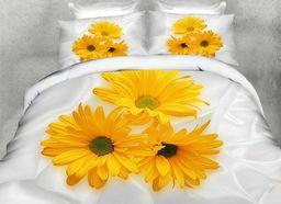 Pościel 160x200 cm + 2 poduszki 70x80 cm biało-żółta