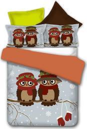 Pościel Owls Collections WinterStory 135x200 cm + poduszka 80x80 cm szaro-brązowa