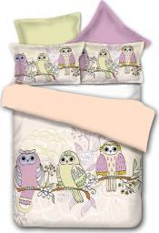 Pościel Owls Collections SpringStory 135x200 cm + poduszka 80x80 cm żółto-różowa