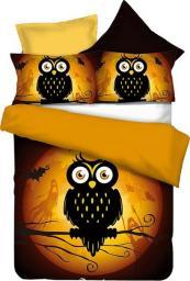 Pościel Owls Collections GhostStory 135x200 cm + poduszka 80x80 cm czarno-pomarańczowa
